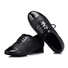Men Latin Dance Shoes Soft Outsole Lace Up Ballroom Tango Dance Shoes Men Dance Sneakers Legend Low Square Black