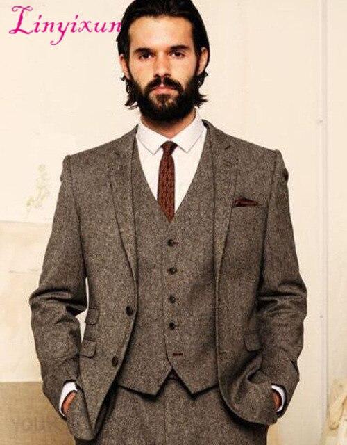 Men/'s Olive Green Wool Blend Tweed Dinner Suit Tuxedos Groom Wedding Suit Custom