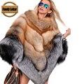 Fandy Lokar Silver Fox Шубы Красный Лисий Мех Мыс русский Шуба Мехом Пальто Зимняя Куртка Luxury Brand Женщины мыс