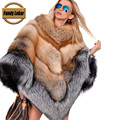 Fandy Lokar Silver Fox Fur Coats Red Fox Real Fur Cape Russian Fur Coat Colored Fur Coats Winter Jacket Luxury Brand Women Cape
