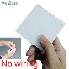 Original VHOME Smart Home universal 433MHZ ev1527 3V Glass panel wall Switch shape remote control+EU/UK Wall Light Touch Switch