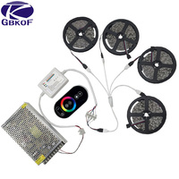 20m15m10m 5050 RGB LED strip waterproof led flashing light flexible ribbon diode led tape RF Remote Controller power supply set