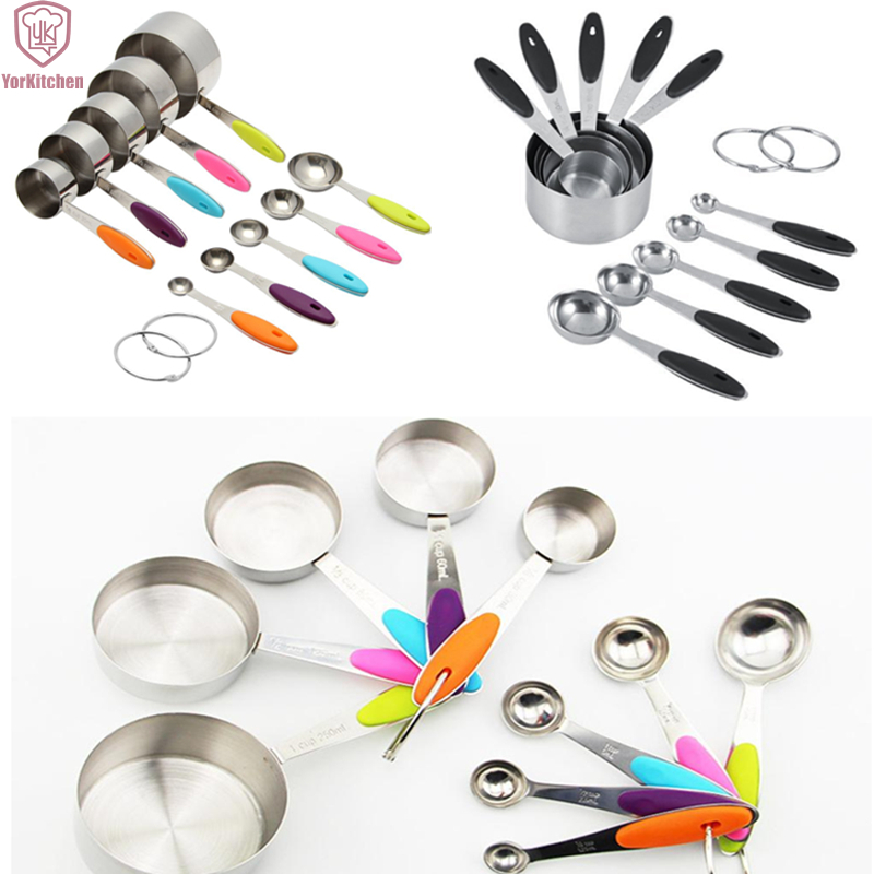 10pcs stainless steel measuring cup and spoon sets with silicone handles for black and colorful. Black Bedroom Furniture Sets. Home Design Ideas