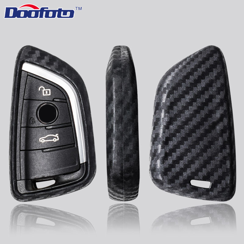 Doofoto Car Key Case Key Cover Carbon Fiber Shell Case for BMW X5 F15 X6 F16 G30 7 Series G11 X1 F48 F39 Accessories Car Styling image