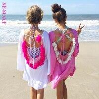 Sesoaf مثير بوهيميا عطلة الرياح الذراعين قمصان التكتيم فضفاض شاطئ بحر الشرابة السيدات بلوزة