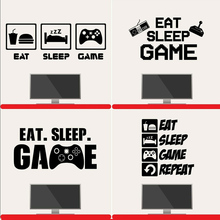 Eat Sleep Game Wall Art Stickers Gaming Gamer Boys Girls Kids Bedroom Decal for Living Room decoration