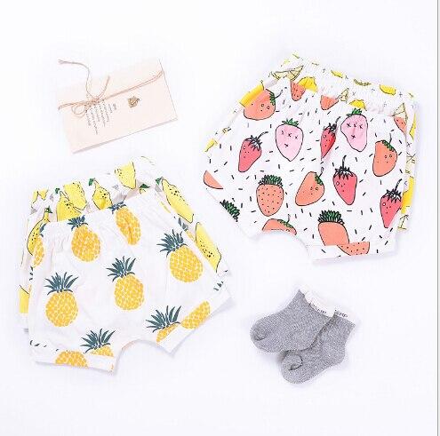 Горячая 2018 лето для девочек и мальчиков детская одежда из хлопка Шорты фрукты Клубника шаровары для малышей