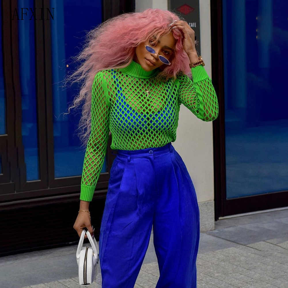 Harajuku Manica Lunga Dolcevita Maglietta Delle Donne di Estate Streetwear Verde Maglia A Rete Top Sheer Vedere Trasparente Tee Shirt Femme 2019