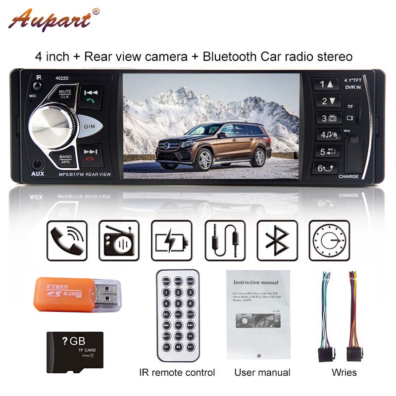1 Din autoradio Multimedia Player Car Radio 1din Auto audio FM Stereo Bluetooth steering wheel remote control 4.1'' HD-in Car Multimedia Player from Automobiles & Motorcycles