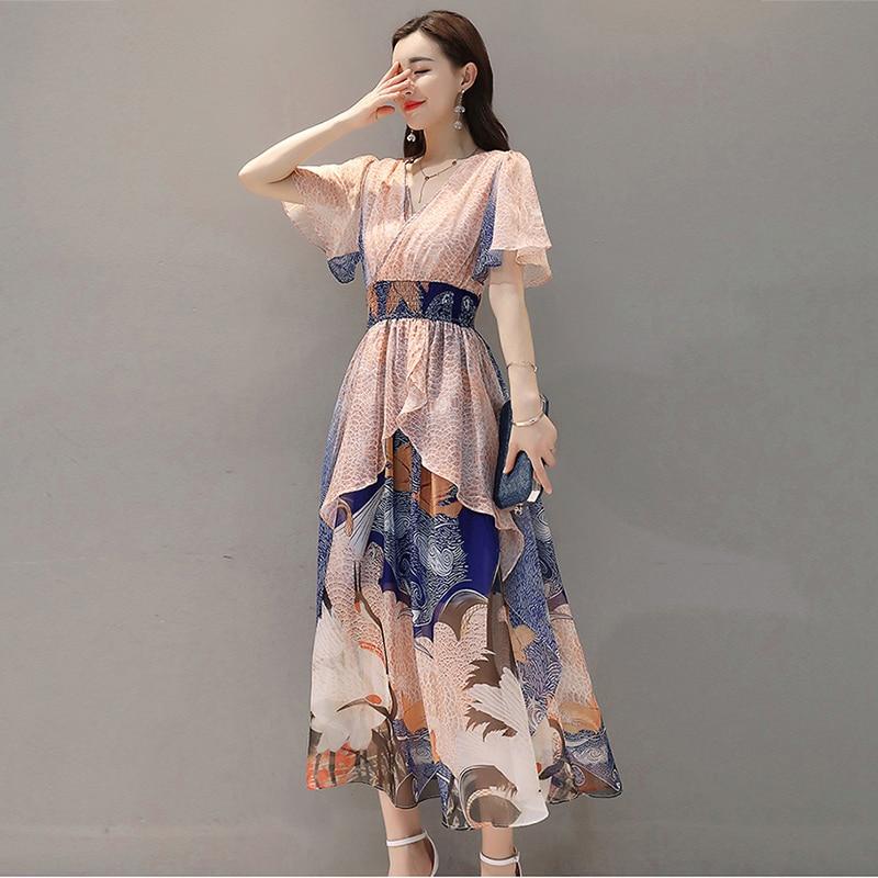 2019 women Summer dress Elegant Women Chiffon Print Bohemian Beach Dress Maxi Dress V-neck Casual Loose Plus size Dress Female 2