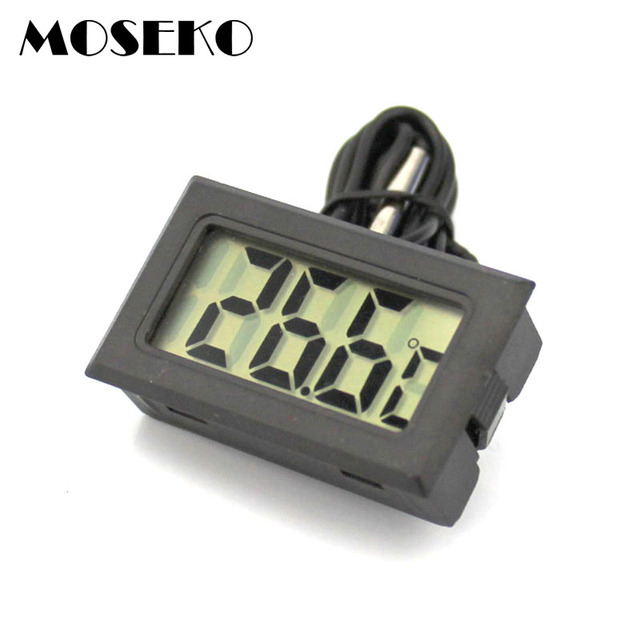 MOSEKO Hot Sale 1PC Digital LCD Probe Fridge Freezer Thermometer Thermograph For Aquarium Refrigerator Black White