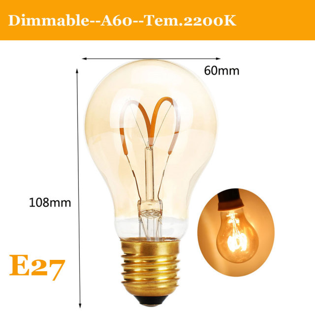 E27 LED Edison Light Bulb Dimmable Retro Carbon Lamp  E14 220V A60 T30 G80 ST64 G95 G125 Vintage Tungsten Indoor Lighting Decor