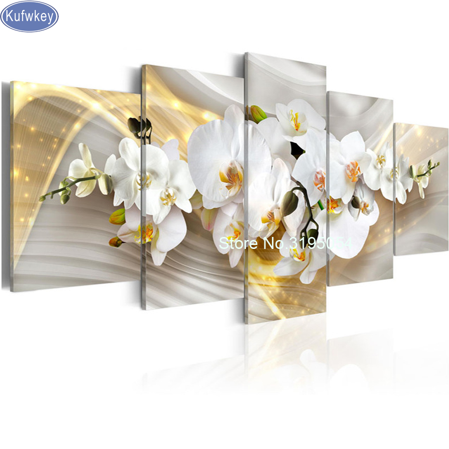 5D diy Diamond Painting white orchid Full Diamond Embroidery 3d picture Cross Stitch Diamond Mosaic Still