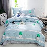 Prickly pear print Cartoon style bedding set cotton fabric 3pcs Twin Size duvet cover flat sheet pillowcase