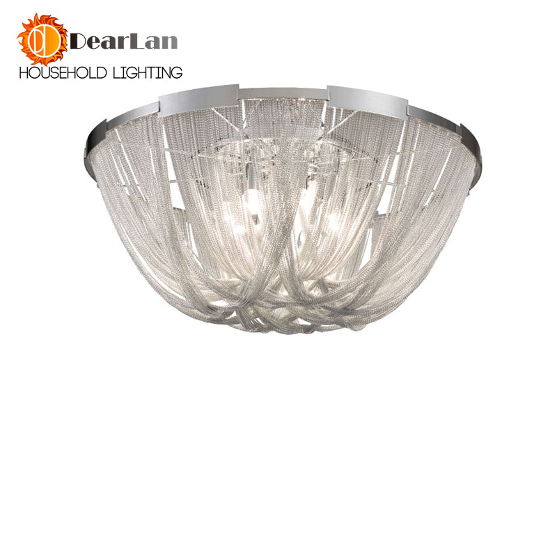 Modern Style Silver Cloth Art Pendant Lamp Engineering Design Luxury Chain Tassel Aluminum Chain LED Pendant