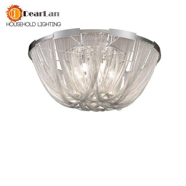 Modern Style Silver Cloth Art Pendant Lamp Engineering Design Luxury Chain Tassel Aluminum Chain LED Pendant Lights(CQ 50)