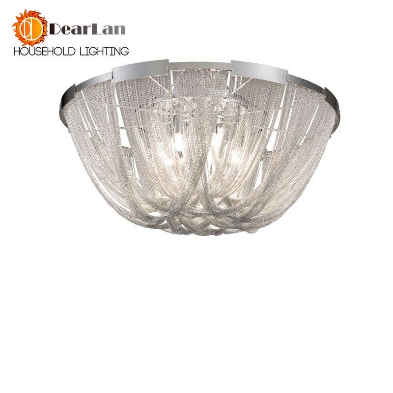 Moderne Style Argent Tissu Art Pendentif Lampe D'ingénierie Design De Luxe Chaîne Gland Chaîne En Aluminium LED Belle Pendentif Lumières