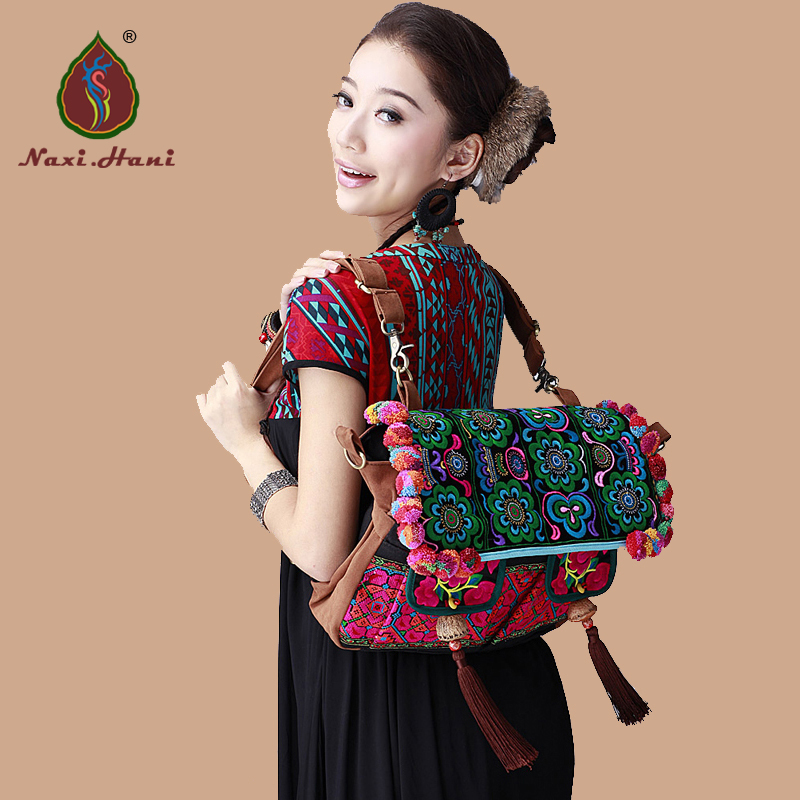 Naxi.Hani original brand Folk embroidery handmade pompon large women backpack Vintage fashion canvas Travel backpack xiyuan brand luxury and fashion women backpacks vintage handmade embroidered bags ladies embroidery canvas travel bags backpack