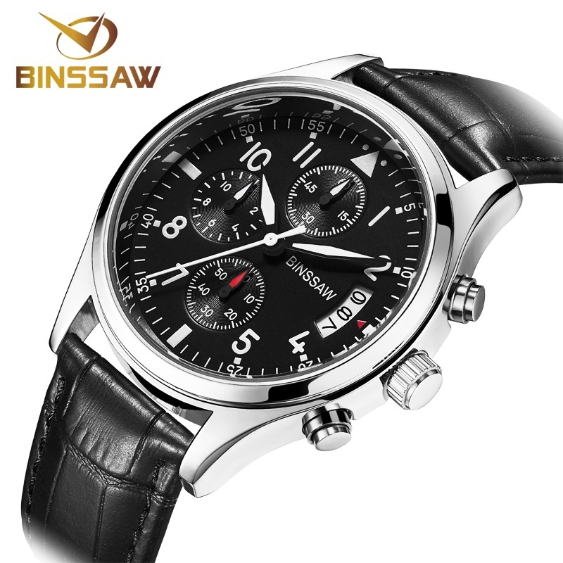 BINSSAW Marca Relojes Deportivos de Cuero Genuino Impermeable Reloj - Relojes para hombres - foto 2