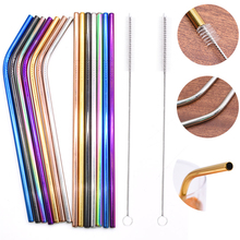 3pcs Colorful Reusable High Quality 304 Stainless Steel Metal Drinking Straws with Cleaner Brush for Home Mug Bar Party Supplies