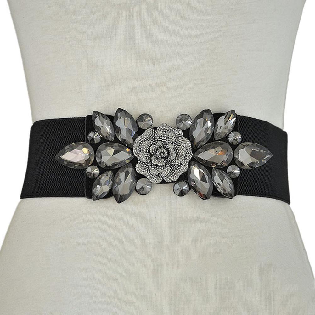 New Fashion Waist Strap Wedding Party Women Fashion Floral Buckle Rhinestone Elastic Wide Clinch Belt