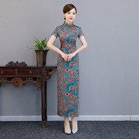 Elegant Asian Women Long Cheongsam Vintage Chinese Style Dress Gown Overiszed Print Flower Qipao Vestidos M L XL XXL XXXL