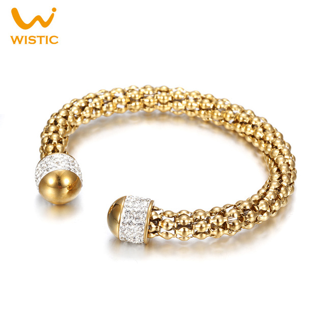Wistic Charm Bracelets & Bangles Stainless Steel Crystal Glue Cable Open End Twisted Cuff Bracelet Gift for Women Female Ladies