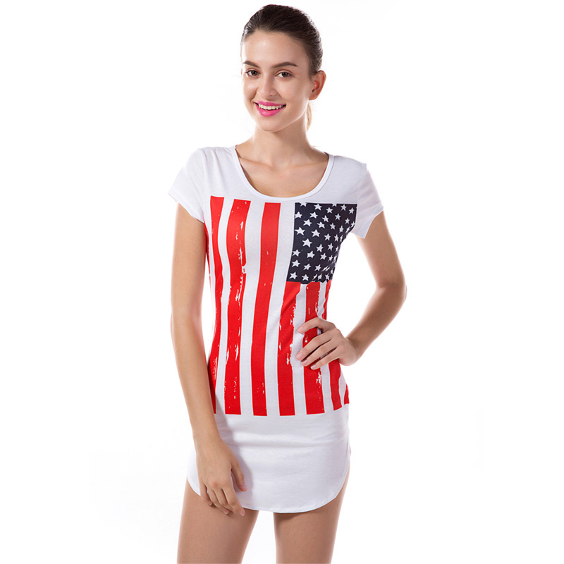 Summer Sexy Girl Women National America Flag Union Jack Short Sleeve Bodycon Mini Dress