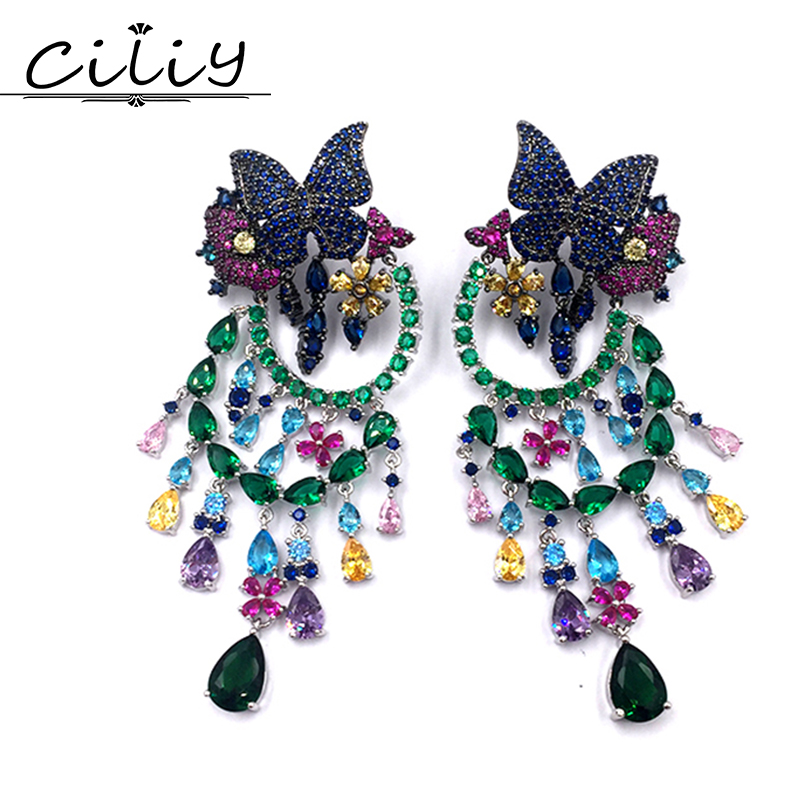 New design luxury fashion colourful micro pave zircon butterfly Flowers tassel earring for women big earrings high quality CZ pa