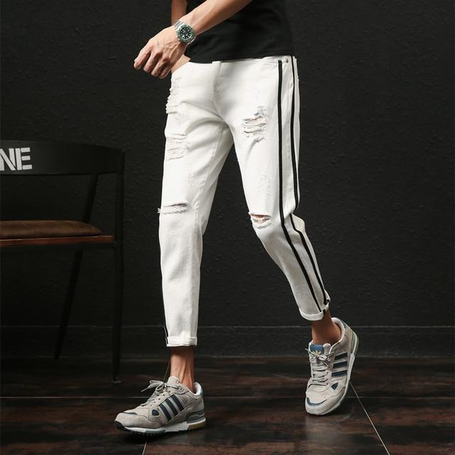 2019 Men Jeans Pants Summer Fashion Side Stripe Casual Pant Men Hole Design Ankle Length Casual Denim Ripped Jeans Men Plus Size