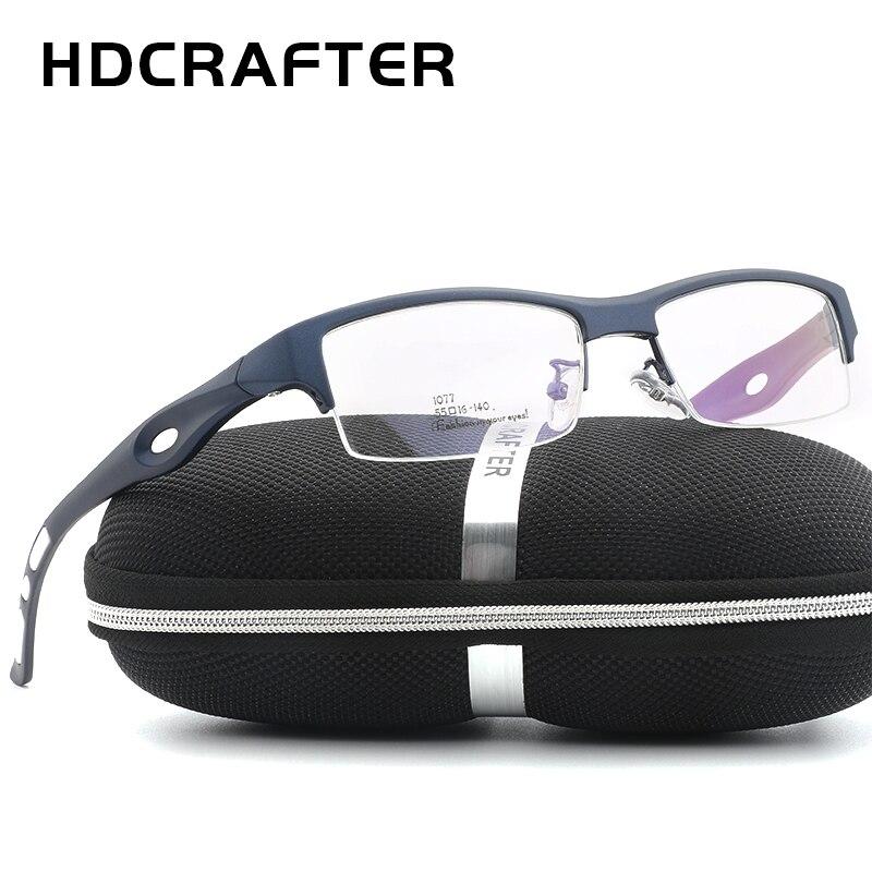2c95d6dcf2 HDCRAFTER semi rimless glasses frame men optical eyewear frames men  eyeglasses frames classice men glasses prescription