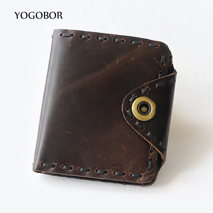 ФОТО HOT!!! Genuine Crazy Horse Cowhide Leather Men Wallet Short Coin Purse Small Vintage Wallet Brand High Quality Vintage Designer
