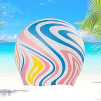 Adults Swimming Caps 2018 New Sports Print Summer Swim Women Men Waterproof Silicone Printing Swimming Surf Water Bathing Hat