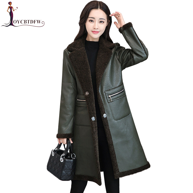 Leather   Jacket Women 2018 Autumn Winter New Thicke Medium Long Temperament Parkas Large Size Spliced Imitation Fur Coat XY562