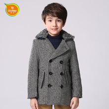 DOOLLEY Boys Long Wool Jackets Kids Autumn Winter Coats Size 110-170 cm England Style Children Clothing Boy Outerwear