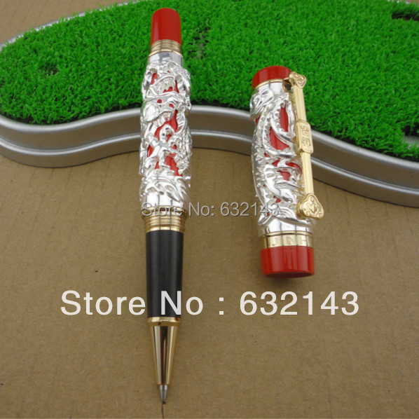 Jinhao Luxury Gold 3D Dragon and Phoenix Pattern Rollerball Pen High Quality Metal Ballpoint Pens for Writing Free Shipping jinhao vintage style 3d snake pattern ballpoint pen 0 7mm roller ball pens free shipping