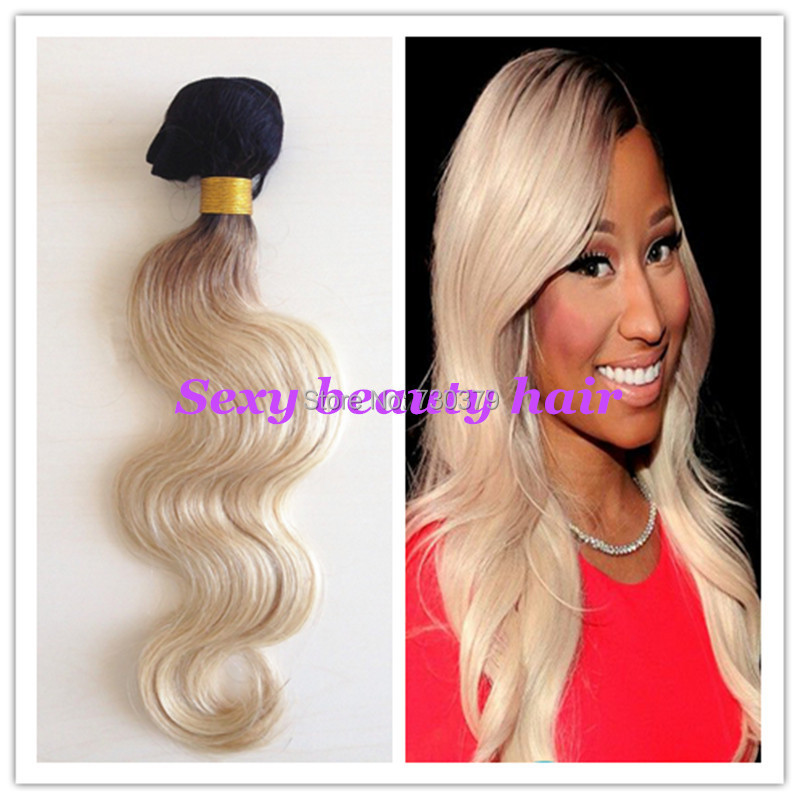 High Feedback Fashinal 1b 613 Dark Root Ombre Hair Extension Brazilian Virgin Body Wave Platinum Blonde Two Tone Weft On Aliexpress Alibaba
