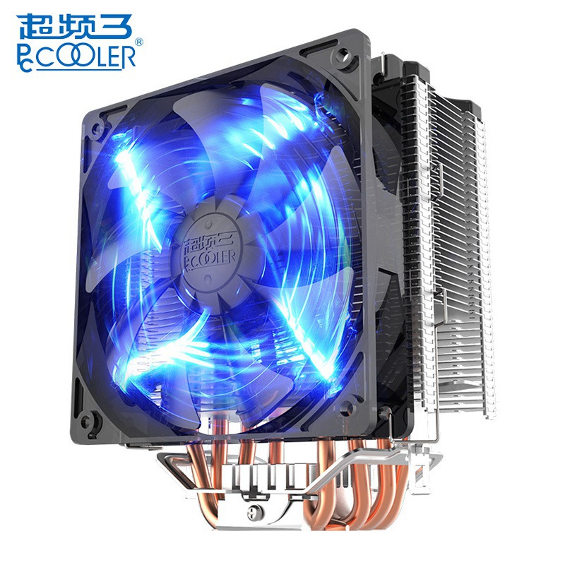 PCCOOLER Donghai X5 4 Pin Blue LED Copper CPU Cooler Cooling Fan Computer Case Fan for Intel LGA 115X 775 1151 for AMD 754 personal computer graphics cards fan cooler replacements fit for pc graphics cards cooling fan 12v 0 1a graphic fan
