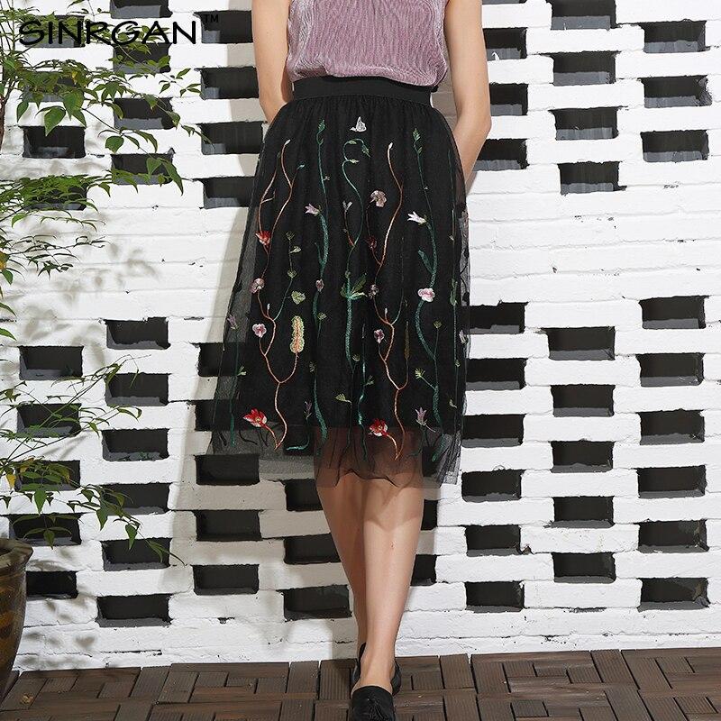 4e7c9af1fc SINRGAN Summer Elegant Embroidery Mesh Long Skirt High Waist Embroidery  Flower Straight Floral Skirts Elastic Black Mesh Skirt-in Skirts from  Women's ...