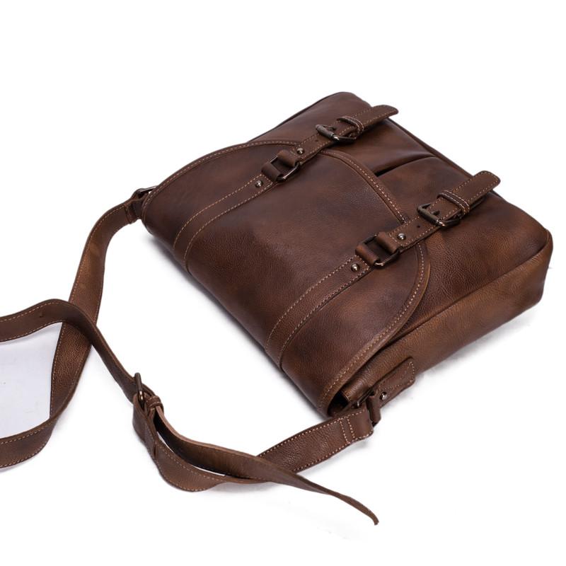 5d5540997328 US $219.0  ROCKCOW Handmade Vegetable Tanned Leather Men's Messenger Bag,  Shoulder Bag, Satchel Bag 9042-in Crossbody Bags from Luggage & Bags on ...