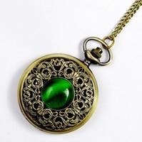 1 Pc Vintage Emerald Immitation Stone PocketWatch Necklace Woman New 2014 Old Fashion Retro Wholesale Lot