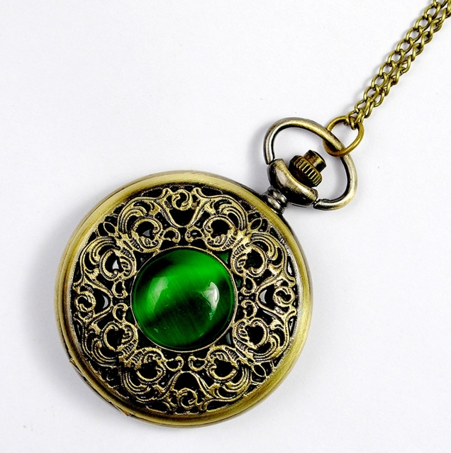 NEW Big Vintage Emerald stone pocket watch Green Necklace woman Jewelry Gothic fashion retro Dropshipping Elf Eye