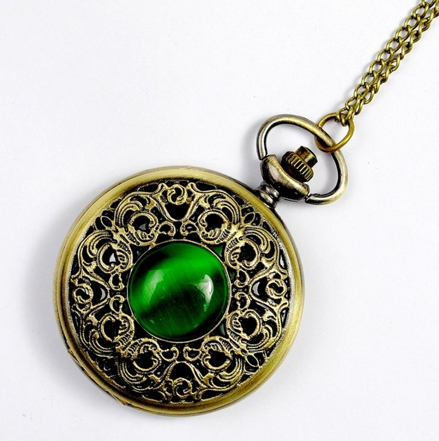 NEW Big Vintage Emerald stone pocket watch Green Necklace woman Jewelry Gothic f