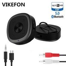 VIKEFON Bluetooth 5.0 수신기 송신기 3.5mm 잭 AUX 오디오 CSR8675 APTX LL HD 핸즈프리 통화 무선 어댑터 (클립 마이크 포함)