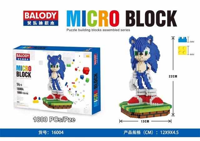 Balody micro bloques de gran tamaño mario diy construcción juguetes ice age scrat lindo sonic subasta pequeña figura juguetes para niños juguetes 16004