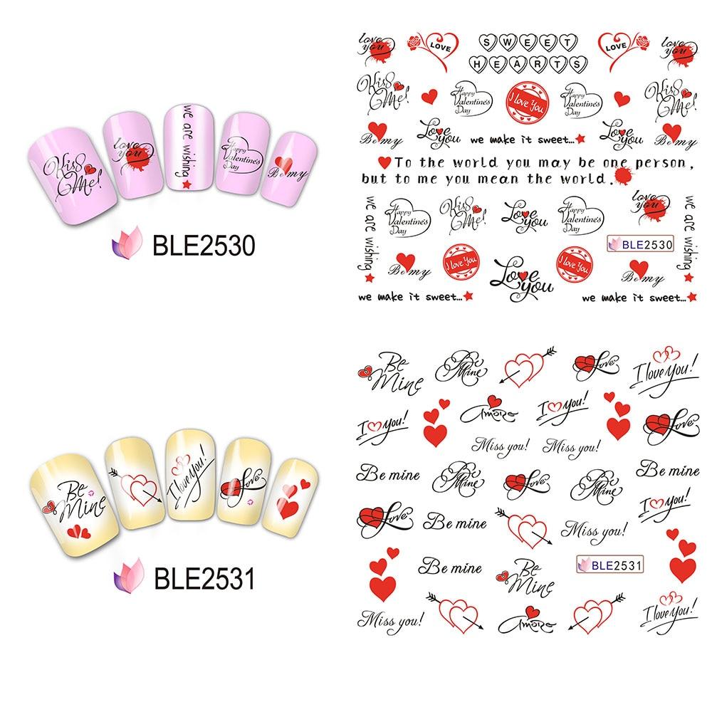 11 Design NEUE 2017 Valentine Decals Nagelkunstaufkleber ...