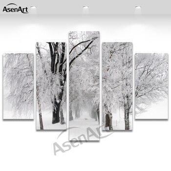 5 Panel Duvar Sanati Kis Kar Resim Sergisi Modern Agac Boyama