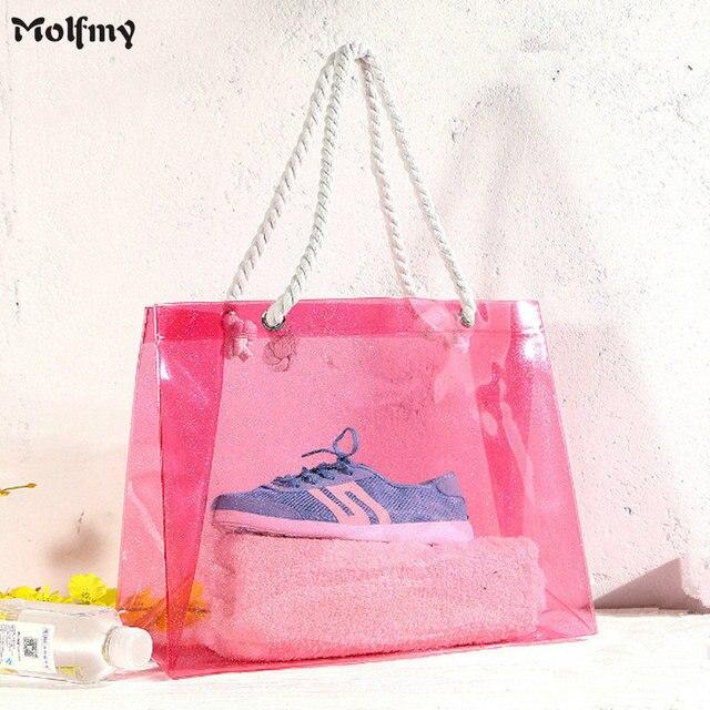 Woman Pvc Shoulder Bags Casual Female Beach Ping Bag Las Canvas Tote Bolsas Feminina Summer