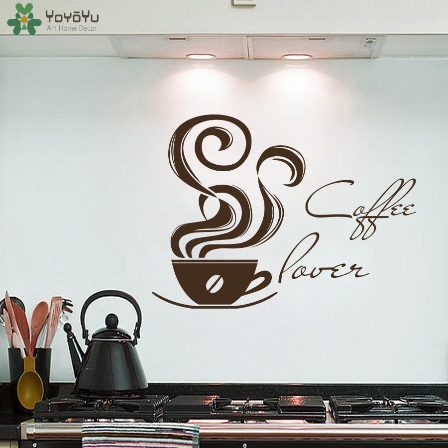 Yoyoyu Coffee Shop Wall Stickers Cafe Logo Vinyl Wall Decal