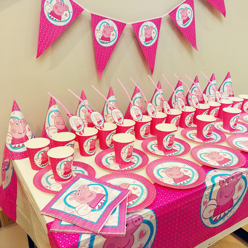 91pcs Cute Pink Pig Disposable Tableware sets TableCloth cups Paper plate Napkin Flag Kids Boy Birthday Party Decoration